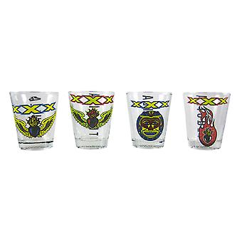 Licensed Set Of 4 XXX Tequila Aztec Shot Glasses