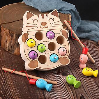 Preschool Wooden  Toys Magnetic Fishing Game Baby Puzzle Early Education Teaching Aids Math  Toys