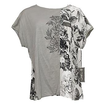 DG2 by Diane Gilman Women's Top Mixed Media Embroidered Tee Gray 655644