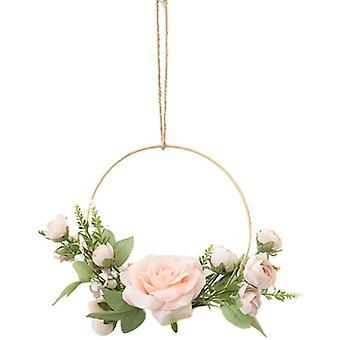 Coronas de flores doradas para colgar en la pared, flor artificial, marco redondo, guirnalda rosa rosa (rosa)