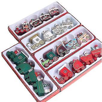 Enfants Train de Noël en bois Jouets Ensemble Décorations de Noël Cadeaux