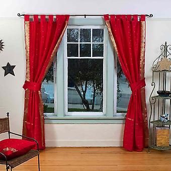 Indo Feuer Brick Tab Top Sari schiere Vorhang (43 Zoll x 84 Zoll) w / passende Zugband