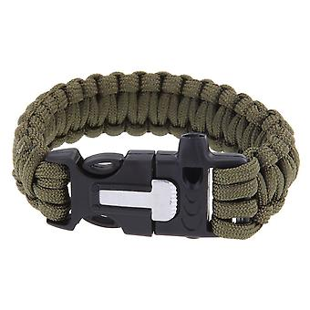 Multifunction Outdoors Survival Paracord Bracelet w/ Flint Fire Starter Scraper Whistle Kit - Army Green Boolavard® TM