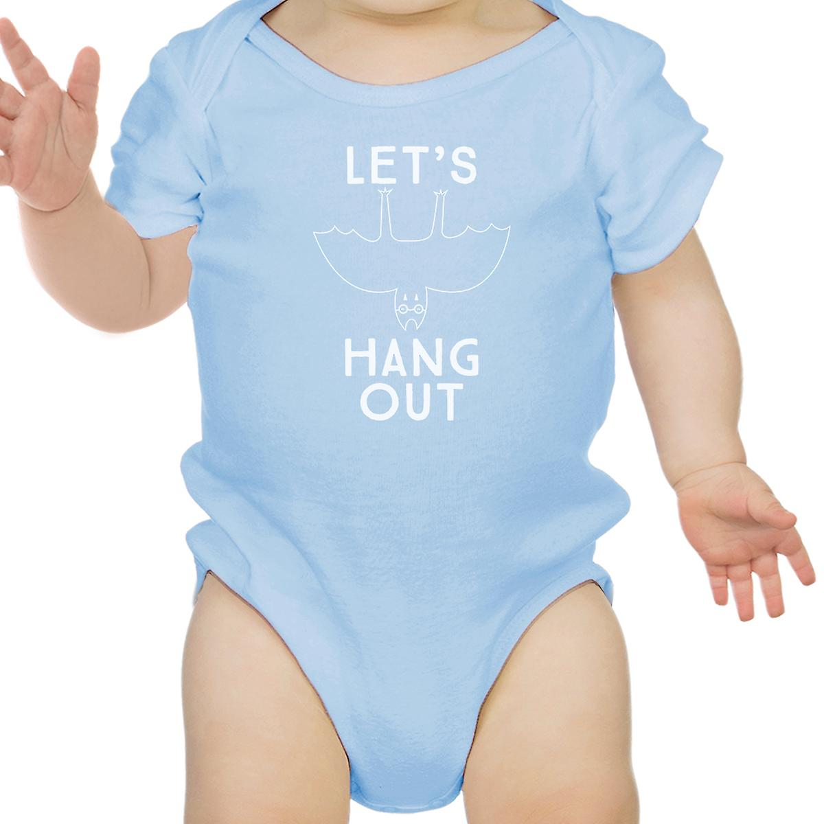 Let's Hang Out Bat Cotton Blue Baby Bodysuit First Halloween Outfit