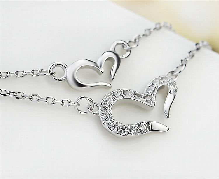 Affici Sterling Silver Necklace 18ct White Gold Plated Twin Chains with Hearts