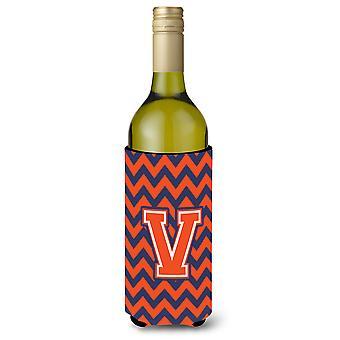 Letter V Chevron Orange Blue Wine Bottle Beverage Insulator Hugger