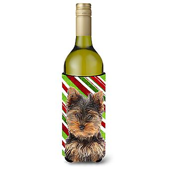 Candy Cane Holiday joulua Yorkie pentu / Yorkshirenterrieri Viini pullo Bevera