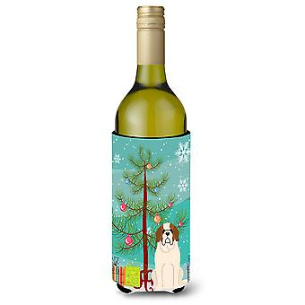 Merry Christmas Tree Saint Bernard Wine flaske Beverge isolator Hugger