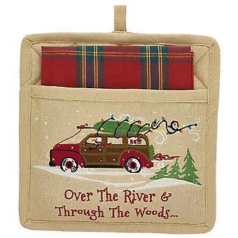 Through the Woods Car Hauling Holiday Tree Pocket Potholder and Dish Towel Set