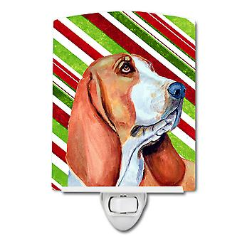 Basset Hound Candy Cane Holiday Christmas Ceramic Night Light