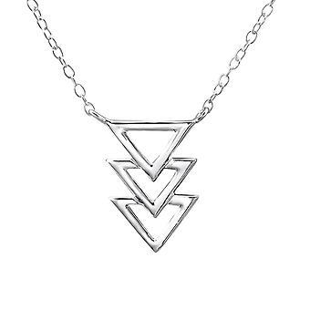ثلاثية مثلث مضمنة-925 الاسترليني فضة عادي قلادات-W22406x