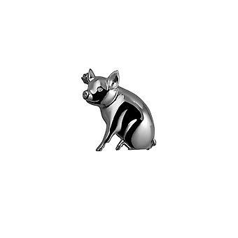 Sølv 24x25mm gris broche