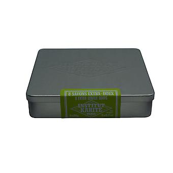 Institut Karite Paris Metal Tin 8 Extra Gentle Guest Soaps  Honeysuckle