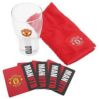 Manchester United FC oficial Wordmark Mini futebol Bar conjunto (vidro da pinta, toalha & esteiras de cerveja)