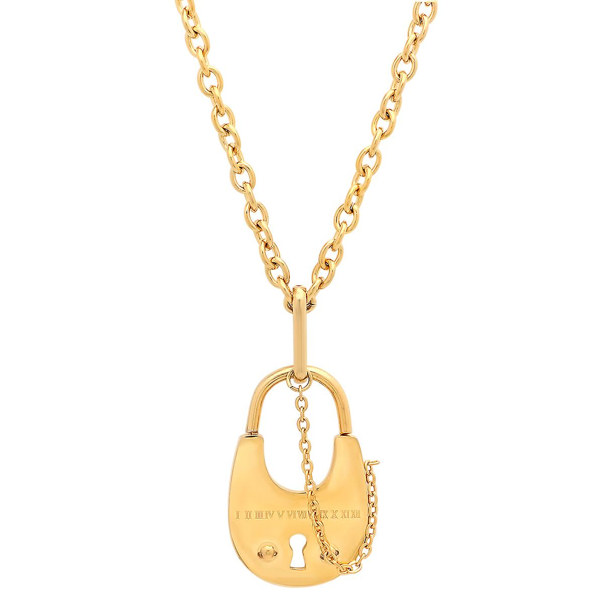Ladies 18K Gold Plated Stainless Steel Cable Chain Link Necklace