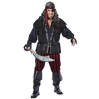 Ruthless Rogue Pirate Swashbuckler Jack Sparrow Captain Mens Costume Plus XXL