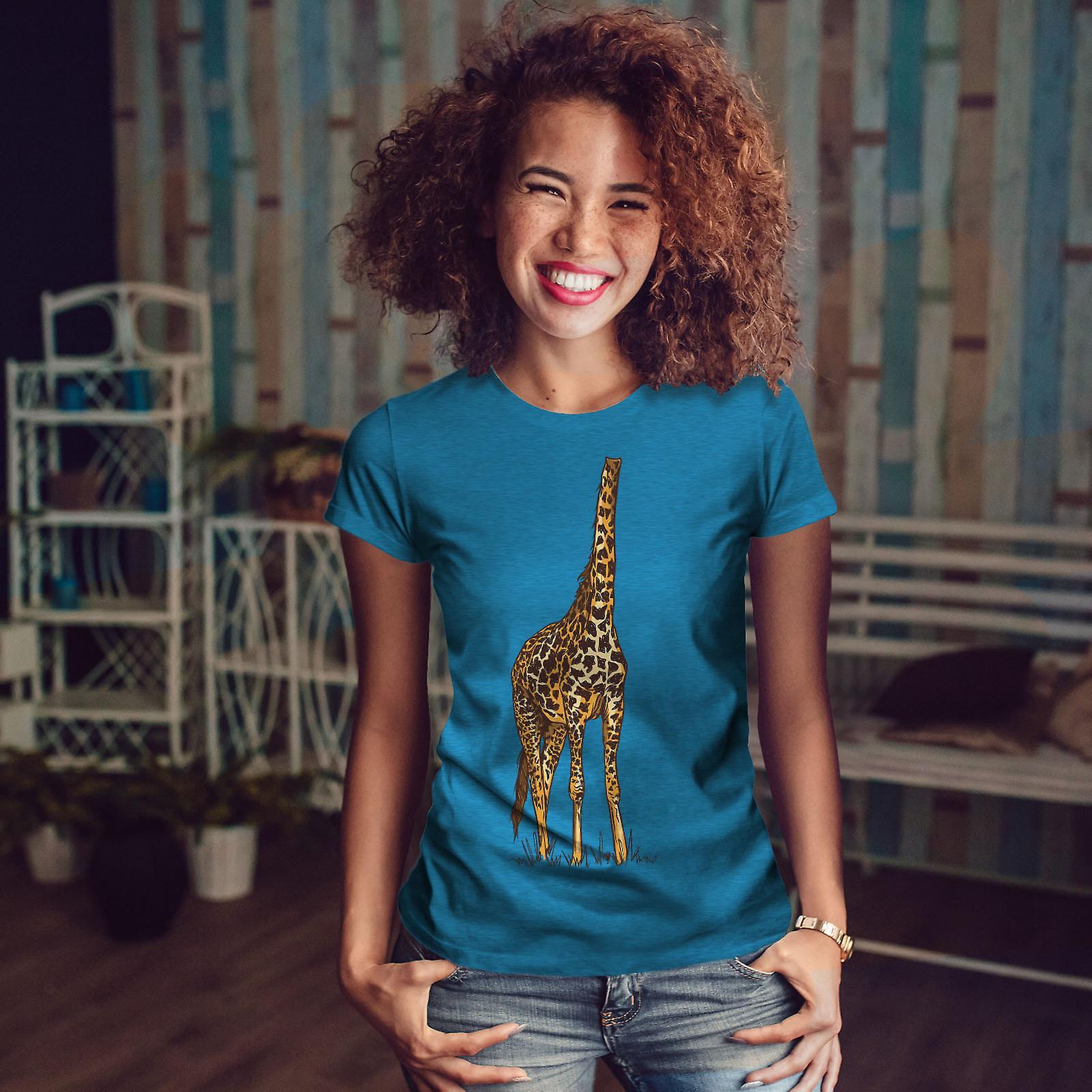 Drôle de girafe hauteur femmes humaines Royal BlueT-chemise | Wellcoda