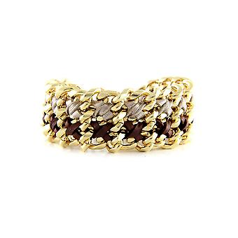 Ettika - Yellow Gold Bracelet and Maroon and Silver Ribbons 3400