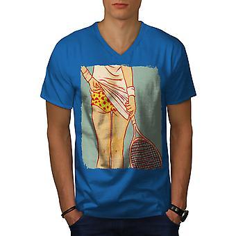 Tenis Girl Butt Sexy Men Royal BlueV-Neck T-shirt   Wellcoda