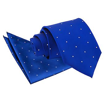 Azul Royal Pin Dot gravata & conjunto de bolso quadrado