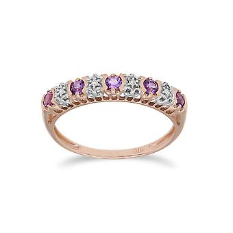 Gemondo 9ct Rose Gold 0.20ct Amethyst & 2pt Diamond Half Eternity Band Ring