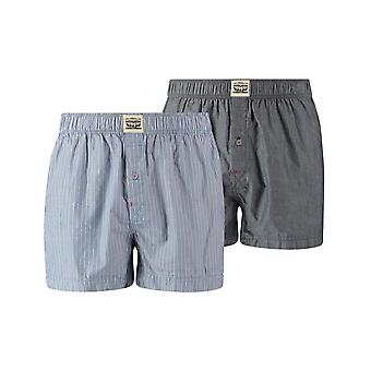 Levi's 2 Pack 300ls gestreepte Chambray geweven Boxer Trunk - Blue Jeans