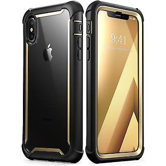 iPhone Xs Max Case,[Ares] Full-Body Rugged Clear Bumper Case with Built-in Screen Protector (2018 Release) (Gold)