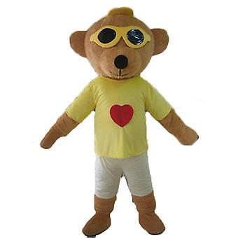 mascot SPOTSOUND of brown bear, colorful outfit, with glasses