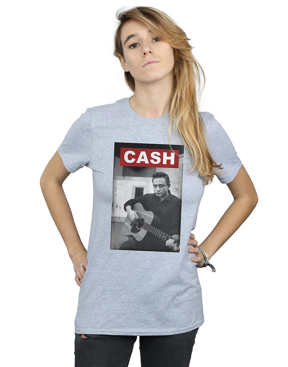 Johnny Cash Women's Guitar Photo Boyfriend Fit T-Shirt
