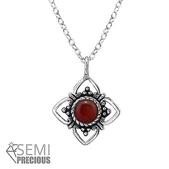 Flower - 925 Sterling Silver Jewelled Necklaces - W31040X