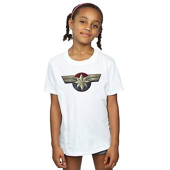 Marvel Girls Captain Marvel Chest Emblem T-Shirt