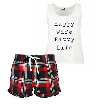 Happy Wife Happy Life Ladies Tartan Frill Short Pyjama Set Red Blue or Green Blue