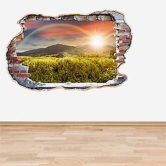اللون الكامل قوس قزح حطموا الجدار تأثير 3D الجدار اللاصق