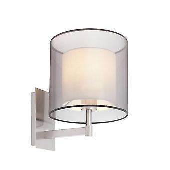Faro - Saba Satin Nickel vägg ljus med dubbel skugga FARO68544