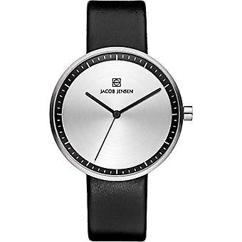 Relógio de senhoras de quartzo de Jacob Jensen analógico com couro estratos série 280