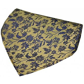 David Van Hagen Small Flowers Silk Handkerchief - Gold/Blue