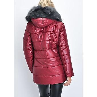 Musta hupullinen tekoturkiksia pehmustettu pitkäsiima pallokala takki viininpunainen