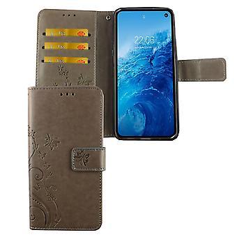 Couvercle de sac affaire mobile Samsung Galaxy S10e Flip gris compartiment