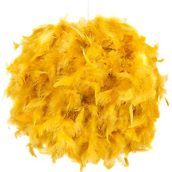 Contemporary and Unique Large Ochre Real Feather Decorated Pendant Light Shade