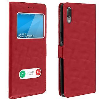 Dubbel fönster Flip stående fodral för Sony Xperia L3, TPU-skal-röd