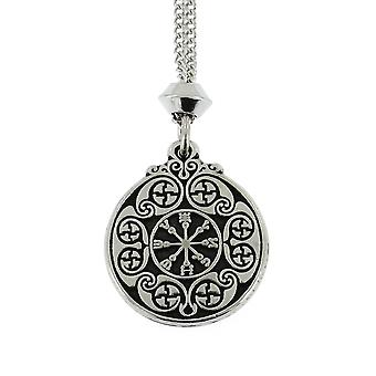 Handmade Sigil of Defence against Evil Pentacle Hermetic Enochian Kabbalah Pewter Pendant ~ Warrior Shield for Protection