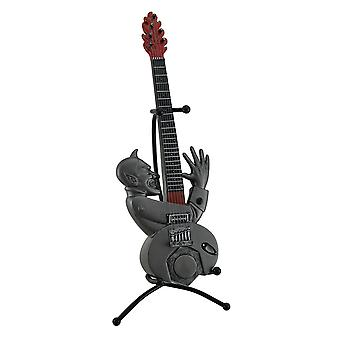 Evil Entertainer Pewter Grey Fiery Demon Guitar Coin Bank