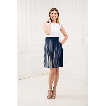 White and blue pleat dress