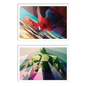 2 Art-Posters - Spiderman and Hulk Polygonal - Liam Brazier