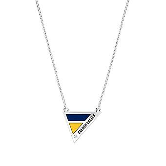 Marquette University Engraved Sterling Silver Diamond Geometric In Necklace Blue and Yellow