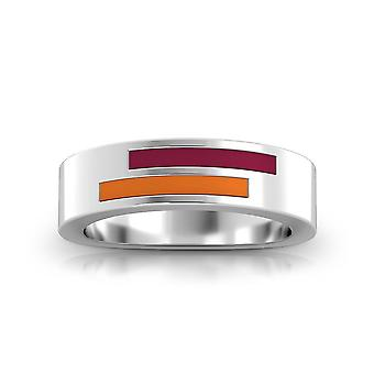 Virginia Tech Sterling Silver Asymmetric Enamel Ring In Maroon and Orange