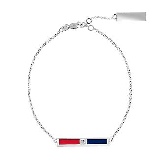 University Of Mississippi Sterling Silver Diamond Bar Chain Bracelet In Red and Blue