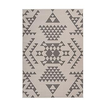Flat Flor Rug Ethno Mayo Aztec Design Triangles Scandi Cream Ivory Grey