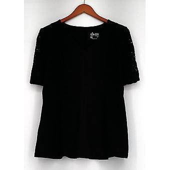 Denim et Co. Top Fit et Flare Stretch Lace Elbow Black A290115
