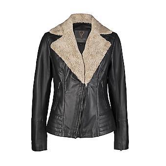 Ladies Removable Fur Collar Black Biker Jacket